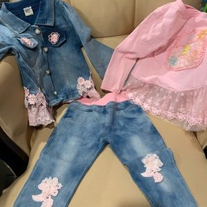 Other - Toddler girls 3 piece jeans set